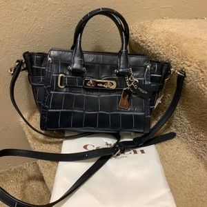 COACH 37186 SWAGGER 20 CROCODILE LEATHER SATCHEL